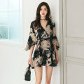 Dress Summer of 2019 Picture color S,M,L,XL Short skirt singleton  three quarter sleeve commute V-neck middle-waisted Decor zipper Ruffle Skirt pagoda sleeve Others Type H