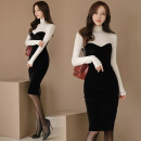 Dress Autumn of 2019 Black, white and black S. M, l, XL, s premium, m premium, l premium, XL premium Fake two pieces Long sleeves commute High collar High waist Solid color zipper Pencil skirt routine Breast wrapping 25-29 years old Other / other Korean version Panel, zipper velvet Chloroprene