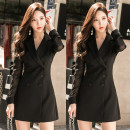 Dress Winter of 2018 Black, white S,M,L,XL singleton  Long sleeves commute other High waist Solid color Socket One pace skirt routine Others 25-29 years old Type H Ol style Pleat, pleat 51% (inclusive) - 70% (inclusive) brocade polyester fiber