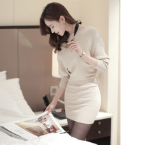 Dress Winter 2020 Apricot, grey, black S,M,L Short skirt singleton  Long sleeves commute One word collar High waist Solid color Socket One pace skirt Bat sleeve 25-29 years old Type H Ol style knitting
