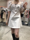 Dress Summer 2021 White, green, black S,M,L,XL Short skirt singleton  Short sleeve commute square neck High waist Solid color Socket other puff sleeve Others 25-29 years old Korean version 51% (inclusive) - 70% (inclusive) other other