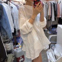 Dress Summer 2020 White, black S,M,L,XL Short skirt singleton  Long sleeves commute Crew neck High waist Socket A-line skirt 18-24 years old Type A Korean version 51% (inclusive) - 70% (inclusive) other