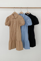 Dress Summer 2021 Khaki, blue, black S,M,L,XL Middle-skirt singleton  Short sleeve commute Doll Collar High waist Solid color Single breasted Princess Dress routine Others 25-29 years old Korean version Button, Ruffle 51% (inclusive) - 70% (inclusive) other