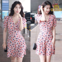 Dress Summer 2021 Pink 1,2,3,4 Short skirt singleton  Short sleeve commute V-neck High waist Decor Socket A-line skirt routine 18-24 years old Type A printing More than 95% Chiffon polyester fiber