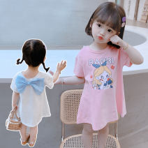 Dress White, pink female Other / other 90cm (recommended height about 90cm), 100cm (recommended height about 100cm), 110cm (recommended height about 110cm), 120cm (recommended height about 120cm), 130cm (recommended height about 130cm) Cotton 90% other 10% summer Korean version Short sleeve other