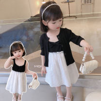 suit Other / other Black, pink 90cm (recommended height about 90cm), 100cm (recommended height about 100cm), 110cm (recommended height about 110cm), 120cm (recommended height about 120cm), 130cm (recommended height about 130cm) female summer Korean version Sleeveless + skirt 2 pieces Thin money other