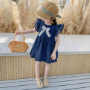 Dress Blue, off white female Other / other 90cm,100cm,110cm,120cm,130cm Cotton 90% other 10% summer Korean version Solid color cotton A-line skirt 3 months, 12 months, 6 months, 9 months, 18 months, 2 years old, 3 years old, 4 years old, 5 years old, 6 years old, 7 years old