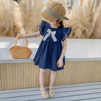 Dress Blue, off white female Other / other 90cm,100cm,110cm,120cm,130cm Cotton 90% other 10% summer Korean version Solid color cotton A-line skirt 3 months, 12 months, 6 months, 9 months, 18 months, 2 years old, 3 years old, 4 years old, 5 years old, 6 years old, 7 years old
