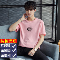 T-shirt Cotton 100% youth routine tide Short sleeve routine daily Youth fashion easy Other Crew neck Four seasons Alphanumeric cotton other Fashion brand printing Non iron treatment Cotton wool cloth More than 95% 2021