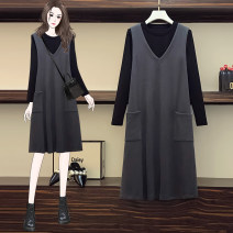 Women's large Winter 2020 Gray, black L [recommended 115 kg], XL [recommended 115-125 kg], 2XL [recommended 135-140 kg], 3XL [recommended 140-160 kg], 4XL [recommended 160-180 kg], 5XL [recommended 180-200 kg] Dress Two piece set commute easy thick Socket Long sleeves Korean version Crew neck