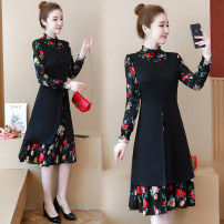 Women's large puff sleeve Long sleeve longuette Condom High collar polyester fiber Other / other routine Dress Self cultivation moderate Fall 2018 commute Korean version Fake two pieces Collage M suggests 90-105 kg, l 105-120 kg, XL 120-135 kg, 2XL 135-148 kg, 3XL 148-160 kg, 4XL 160-175 kg