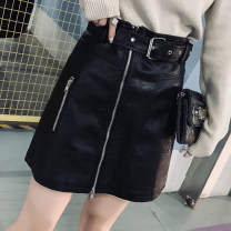 skirt Autumn 2020 M. L, XL, 2XL, 3XL, 4XL, pay attention to gift (belt) black Short skirt commute High waist A-line skirt Solid color Type A 18-24 years old 91% (inclusive) - 95% (inclusive) other Other / other PU Lace up, zipper, inside the skirt is the sleeve Korean version