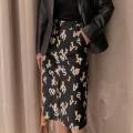 skirt Spring 2021 1 = XS, 2 = s, 3 = m, 4 = L, 5 = XL black Mid length dress commute High waist skirt letter More than 95% O'amash banner cotton Ol style