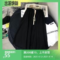 skirt Summer of 2018 S,M,L black Mid length dress commute High waist Irregular Solid color Type A More than 95% other cotton Frenulum Korean version