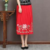 skirt Summer of 2019 M,L,XL Red, Navy, black Middle-skirt commute Natural waist Type H 3131# 51% (inclusive) - 70% (inclusive) other Other / other hemp ethnic style
