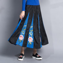 skirt Winter of 2018 Average size black longuette commute Natural waist Splicing style Decor Type A 6509# 71% (inclusive) - 80% (inclusive) Other / other polyester fiber Embroidery ethnic style