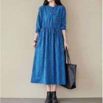 Dress Autumn 2020 Coffee, lake blue, red, green, navy Average size longuette singleton  Long sleeves commute stand collar High waist Decor Big swing routine Others 25-29 years old Type A ethnic style Frenulum 81% (inclusive) - 90% (inclusive) brocade hemp