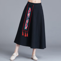 skirt Summer of 2019 Average size black Mid length dress commute Natural waist A-line skirt other Type A 31% (inclusive) - 50% (inclusive) other Other / other hemp pocket literature