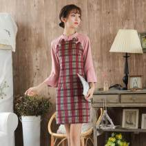 cheongsam Autumn of 2019 S,M,L,XL Orange, pink three quarter sleeve long cheongsam Retro daily Oblique lapel lattice 18-25 years old Other / other other 31% (inclusive) - 50% (inclusive)