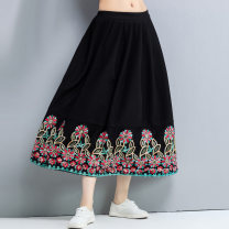 skirt Winter of 2019 Average size black Mid length dress commute Natural waist A-line skirt Decor Type A 51% (inclusive) - 70% (inclusive) Wool Other / other other Embroidery literature