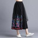 skirt Autumn of 2019 Average size black Mid length dress commute Natural waist Irregular Decor 31% (inclusive) - 50% (inclusive) other Other / other polyester fiber Embroidery literature