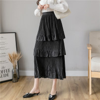 skirt Spring 2021 Average size White, black Mid length dress commute High waist Cake skirt Solid color Type A 25-29 years old 31% (inclusive) - 50% (inclusive) other Other / other polyester fiber fold Korean version