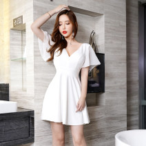 Dress Winter of 2019 White, black, blue XS,S,M,L,XL,2XL,3XL Short skirt singleton  Short sleeve commute V-neck High waist Solid color Socket Big swing other straps 25-29 years old Type A Lotus leaf edge 71% (inclusive) - 80% (inclusive) knitting polyester fiber