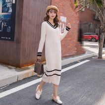 sweater Autumn 2020 S,M,L,XL Apricot Long sleeves Socket singleton  Medium length acrylic fibres 51% (inclusive) - 70% (inclusive) V-neck thickening commute routine Straight cylinder Regular wool Keep warm and warm