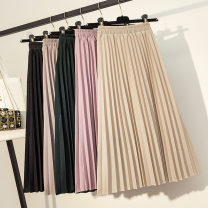 skirt Autumn of 2019 S,M,L,XL Mid length dress commute High waist Pleated skirt Solid color Type A 18-24 years old 51% (inclusive) - 70% (inclusive) other hemp fold literature 201g / m ^ 2 (including) - 250G / m ^ 2 (including)