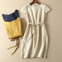 Dress Summer 2021 Navy, ginger, flax, leather powder S,M,L,XL Middle-skirt singleton  Short sleeve Sweet Crew neck middle-waisted Solid color Socket A-line skirt routine Others Type A Other / other Bowknot, pocket, lace, stitching, tridimensional decoration, button, 3D More than 95% other hemp