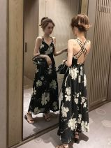 Dress Summer 2021 Red, black S,M,L,XL,2XL longuette singleton  Sleeveless commute V-neck High waist Decor Socket other other camisole 18-24 years old Type A Korean version Open back, fold 91% (inclusive) - 95% (inclusive) Chiffon polyester fiber
