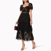 Dress Spring 2020 black S,M,L Mid length dress singleton  Short sleeve street square neck middle-waisted zipper Cake skirt puff sleeve Breast wrapping 25-29 years old Type A Open back, Gouhua, hollow out, stitching, zipper Europe and America