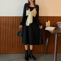 Dress Spring 2021 black M [85-100 Jin], l [100-115 Jin], XL [115-130 Jin], 2XL [135-150 Jin], 3XL [150-170 Jin], 4XL [170-200 Jin] Mid length dress singleton  Long sleeves commute other High waist Solid color other routine 18-24 years old Type A Retro 71% (inclusive) - 80% (inclusive) other