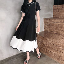 Dress Summer of 2019 black L [100-120 Jin], XL [120-140 Jin], 2XL [140-160 Jin], 3XL [160-180 Jin], 4XL [180-200 Jin] longuette singleton  Short sleeve commute Polo collar High waist Solid color other A-line skirt routine Others Type H Other / other Retro 81% (inclusive) - 90% (inclusive) other