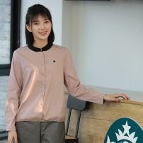 shirt Pink, Navy M,L,XL,2XL,3XL,4XL Spring 2020 cotton 51% (inclusive) - 70% (inclusive) Long sleeves Sweet Regular square neck Single row multi button routine Straight cylinder store up C192982 Ruili