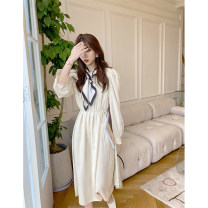 Dress Spring 2021 Apricot S, M Mid length dress singleton  Long sleeves Sweet Crew neck High waist Solid color puff sleeve Others 18-24 years old Type A Vintage solid dress