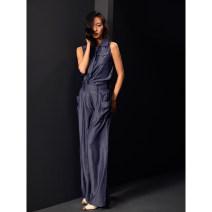 Fashion suit Summer of 2019 S,M,L navy blue Tencel denim sleeveless shirt + wide leg pants 96% and above Tencel