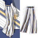 Casual pants Stripe Collection Plus priority delivery S M L XL Summer of 2018 trousers Wide leg pants High waist street Thin money 25-29 years old polyester fiber Bandage polyester fiber Europe and America