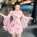 Dress Spring 2020 Pink S,L,M Short skirt singleton  Sweet V-neck High waist other zipper Big swing pagoda sleeve Others 18-24 years old Embroidery 71% (inclusive) - 80% (inclusive) other polyester fiber