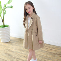Windbreaker female spring and autumn Korean version nothing double-breasted Medium length Cotton 100% Solid color Pure cotton (95% and above) No belt Lapel and pointed collar Cotton 100%