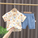 suit Other / other Blue, green 80cm,90cm,100cm,110cm,120cm neutral summer leisure time Short sleeve + pants 2 pieces Thin money No model Single breasted nothing other cotton children Expression of love Cotton 100% Chinese Mainland