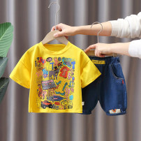 suit Other / other Black, white, yellow, gray 80cm,90cm,100cm,110cm,120cm neutral summer Korean version Short sleeve + pants 2 pieces Thin money No model Socket nothing Cartoon animation cotton children Expression of love Cotton 100% Chinese Mainland