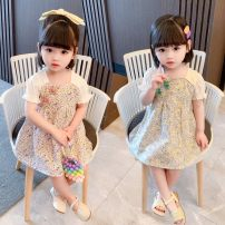 Dress Green, pink female Other / other 80cm,90cm,100cm,110cm,120cm,130cm Cotton 95% other 5% summer Chinese style Short sleeve Broken flowers cotton A-line skirt Class B 12 months, 2 years old, 3 years old, 4 years old, 5 years old, 6 years old, 7 years old, 8 years old Chinese Mainland