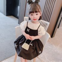 suit Other / other black 90cm,100cm,110cm,120cm,130cm female summer Korean version Short sleeve + pants 2 pieces Thin money There are models in the real shooting Socket nothing Cartoon animation cotton children Expression of love Cotton 90% other 10%