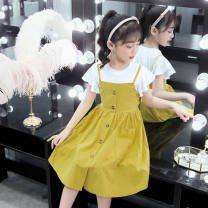 Dress Yellow, pink, orange female Other / other 110, 120, 130, 140, 150, 160 Cotton 90% other 10% summer Korean version Skirt / vest Solid color cotton Splicing style Class B Chinese Mainland