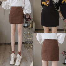 skirt Spring 2021 S,M,L,XL Brown, black Short skirt commute High waist A-line skirt Solid color Type A 18-24 years old B-37 71% (inclusive) - 80% (inclusive) Wool other Korean version