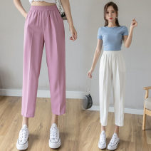 Casual pants S,M,L,XL Summer 2021 Ninth pants Haren pants High waist Versatile Thin money 18-24 years old 51% (inclusive) - 70% (inclusive) Wire cloth pocket nylon