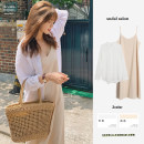 Dress Autumn 2020 White shirt, suspender dress S,M,L,XL Mid length dress Two piece set Long sleeves commute Polo collar High waist Solid color zipper A-line skirt shirt sleeve camisole 18-24 years old Other / other Korean version cotton