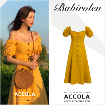 Dress Summer of 2019 yellow S,M,L,XL longuette singleton  Short sleeve commute square neck High waist Solid color Socket A-line skirt puff sleeve Others 18-24 years old Type A Other / other Korean version Button