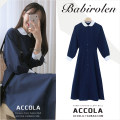 Dress Autumn of 2019 Navy, dark brown S,M,L,XL longuette singleton  Long sleeves commute Doll Collar High waist Solid color Single breasted Big swing shirt sleeve Others 18-24 years old Retro Button other polyester fiber